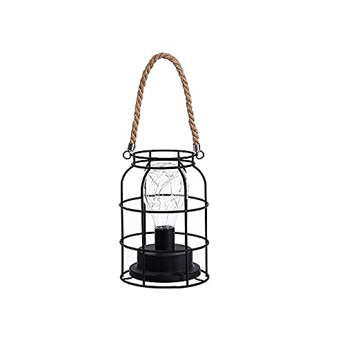 Luces nocturnas LED a pilas lámpara de jaula metálica colgante lámpara de mesa de hierro con cuerda de cáñamo para dormitorio, salón, pasillo, regalo perfecto