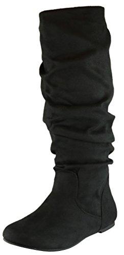 Cambridge Select Women's Slouchy Knee High Flat Boot (7 B(M) US, Black IMSU)