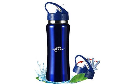 La compra de Mike - Botella de agua de acero inoxidable con aislamiento de doble pared BPA, botella de agua reutilizable de 600 ml, pajita hermética de fácil limpieza Flip-Top.