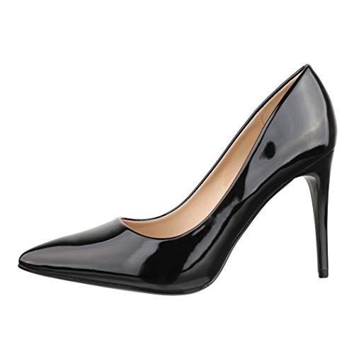 Elara Damen Pumps Spitz High Heels Stiletto Chunkyrayan P B-80 Black-39