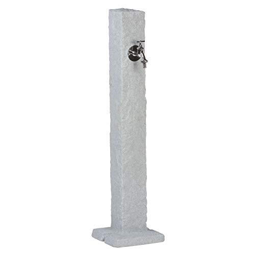 Wasserzapfstelle grau Wasserentnahmestelle Natura Farbe granit aus hochwertigem Kunststoff mit Wasserhahn. Die Wasserzufuhr erfolgt über ein handelsübliches Schlauchstecksystem auf der Rückseite