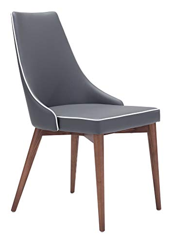 Zuo Modern Moor Dining Chairs (Set of 2), Dark Gray with White Trim, Slim Wing Back Style Back and Plush Seat, Contrasting Accent Trim Detail, Sturdy all Wood Base in Warm Walnut Finish