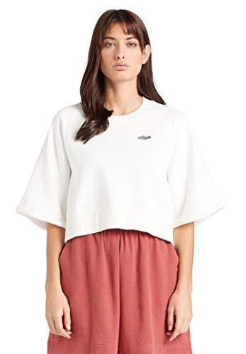 khujo Damen Sweatshirt Azra Embro Baumwolle Loose Fit kurz Halbarm einfarbig