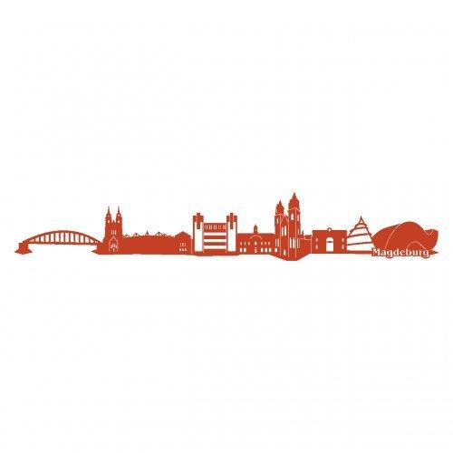 Skyline4u Wandtattoo Stadt Magdeburg Wandaufkleber in 6 Größen und 19 Farben (140x23cm kupfermetalleffekt)