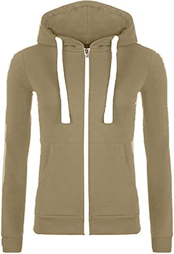 Sudadera con capucha para mujer de forro polar de manga larga con cremallera y capucha beige L