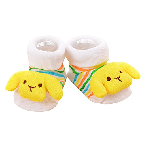 Dinnesis Calcetines para bebé recién nacido, antideslizantes, estereoscópicos, dibujos animados 3D, calcetines de suelo cálidos para invierno para niños y niñas, amarillo, S