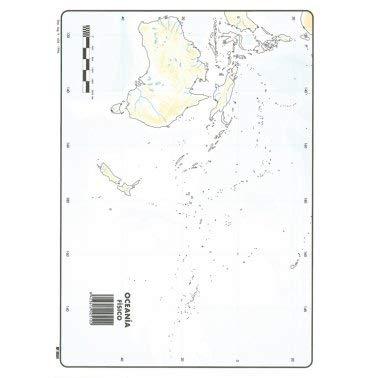 Mapa Mudo Oceanía Físico A4 (10 ud.)