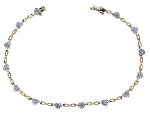 H. Gaventa Ltd - Bracciale da donna con diamante (0,21 ct), oro giallo 9k (375), 185 mm, cod. BRG-K30292