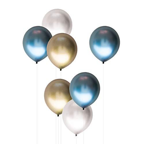 Oblique Unique® 7X Luftballons im Farbmix für Geburtstag Feier Party Deko Ballons im Metallic Erscheinungsbild - wählbar (Blau)