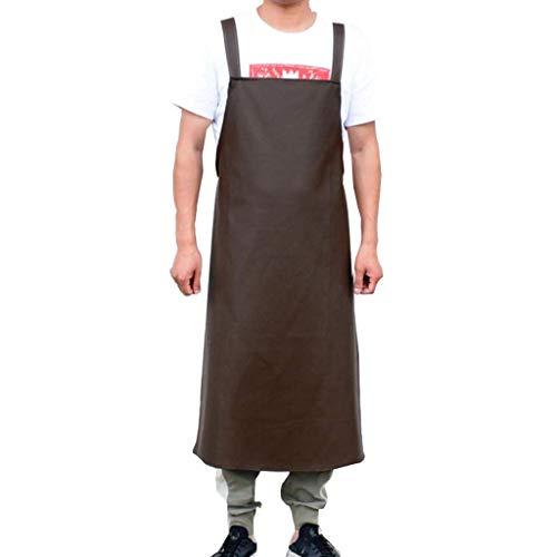 SSB Delantal de cuero impermeable para hombres y mujeres, delantal de chef con bolsillos, delantal de cocina largo industrial, delantal de barbería, delantal de barman, delantal K 65 x 100 cm