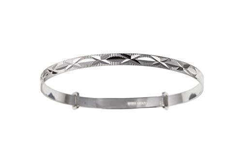 Diamond Cut Kiss Expanding/Expandable MEDIUM BABY Bangle Bracelet - 925 Sterling Silver