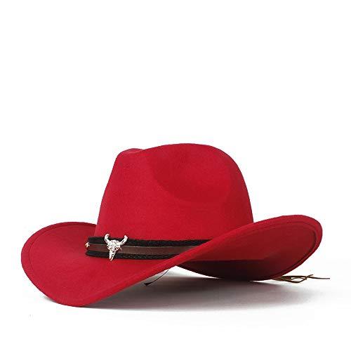 HONG YI-HAT Kleid Zubehör Männer Frauen Wolle Western Cowboy Hut Fedora Hut Mit Kuh Kopf Lederband Fascinator Sombrero Hut Kirche Hut Größe 56-58 cm (Color : Red, Size : 56-58)