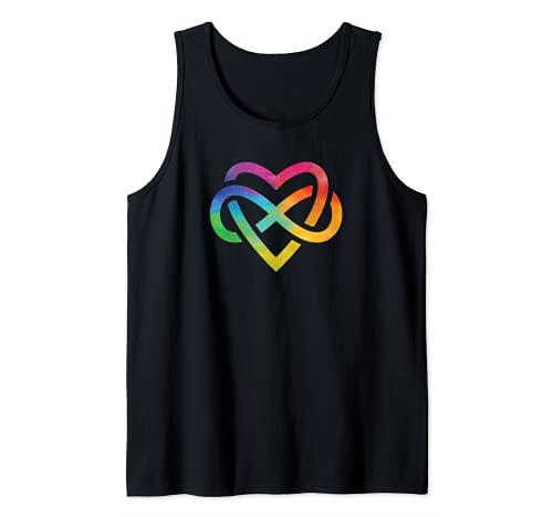 Corazón de acuarela arco iris Camiseta sin Mangas