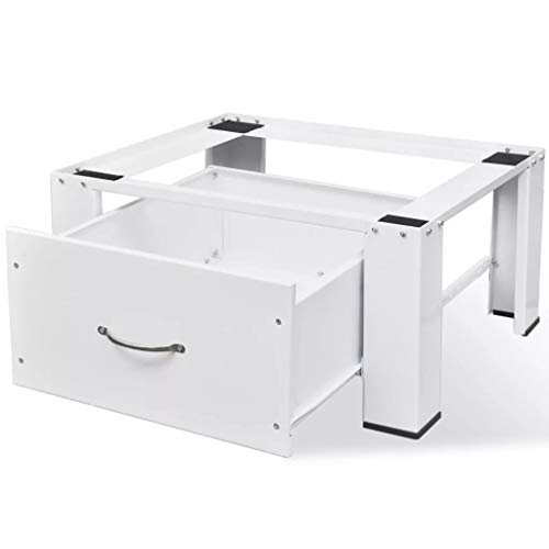 SOULONG Supporto Alzatina con Cassetto per Lavatrice, Base per Lavatrice, Supporti Universale per Lavatrice e Asciugatrice, Piedistallo con Cassetto in Acciaio, Bianco