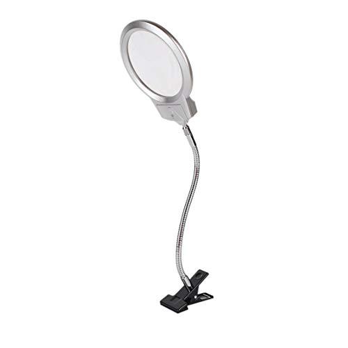 DDyna Clip en el Escritorio Lupa iluminada Lupa Lupa de Lectura Manguera de Metal Lámpara con luz LED Lupa de Escritorio Superior con Abrazadera - Plata