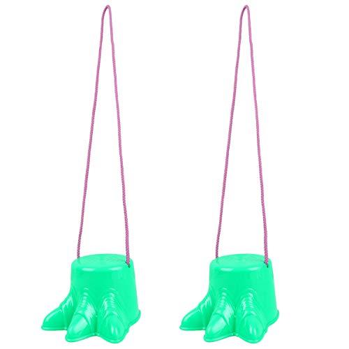 TOYANDONA Juego de 2 zancos de plástico con pies de dinosaurio para niños (verde/6. 1 x 4. 7 pulgadas)