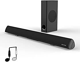 Sound bar with Subwoofer, Bestisan Sound Bars, 120 Watts 2.1 Channel, 30inch Wired&Wireless Bluetooth Home Theater Speaker for TV(3 Equalizer Mode, Bass Adjustable, Deep Bass for Home Theater/Studio