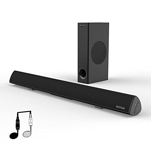 BESTISAN Sound Bar, Bestisan Sound Bar with Subwoofer, 120W Channel 2.1 Soundbar, Wired & Wireless Bluetooth Home Theater Speaker for TV (28 Inch, Optical/Aux/Coax/USB, Bass Adjustable)