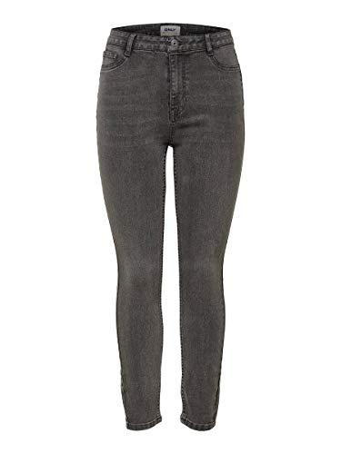 Only Onlfhi-Rise Skinny Jeans Life Box Mah Vaqueros, Gris (Grey Denim Grey Denim), L para Mujer