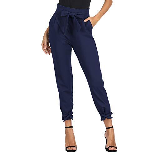 GRACE KARIN Damen Carpi Hose High Waist 9/10 Elegant Casual Bleistifthose Herbst Hose mit Taschen M Navyblau CL010903-9