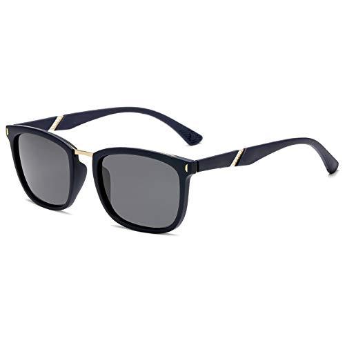 QINGZHOU Gafas de Sol,Gafas de sol de moda Gafas de sol polarizadas para hombres y mujeres Gafas de sol simples y salvajes de moda, marco azul Gris C2