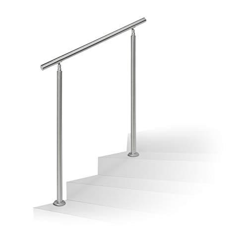 Relaxdays Treppengeländer Edelstahl Set, für Innen und Außen, Handlauf, 1,0 m lang, 2 Pfosten, ohne Querstreben, silber