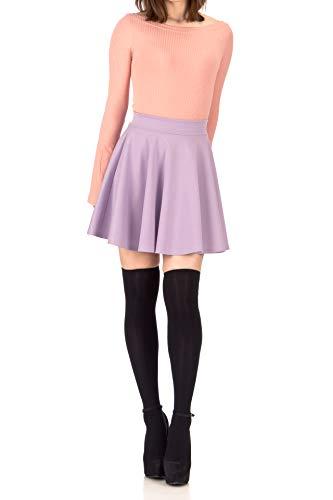 Super-Versatile Elastic Waist A-line Full Flared Circle Swing Skater Mini Skirt (L, Lavender)