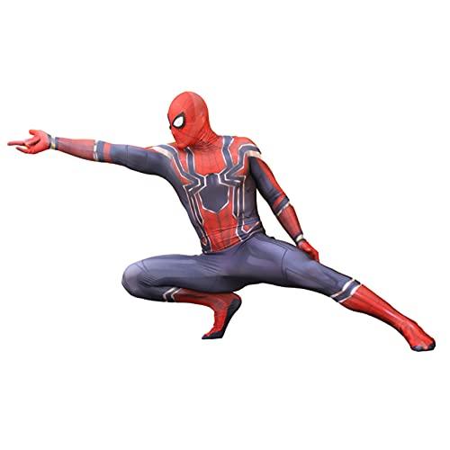 HMSWJD Iron Spiderman Jumpsuit Halloween Cosplay Body Niños Superhéroe Medias Masquerade Fancy Dress Zentai Spandex Lycra Disfraces,Rojo,Men/3XL(190~200CM)