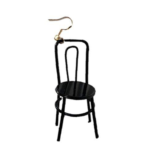 Mini-Stuhl Ohrring Handgefertigte DIY Hip Hop Ohrstecker Schmuck Accessoires 1Piece Schwarz