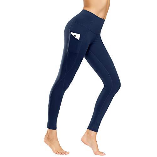 WateLves Damen Sport Leggings Lange Leggings Yoga Jogginghose Fitness Hose Laufhose Training Strumpfhosen Gürtel Handytasche(ck.Marine,L