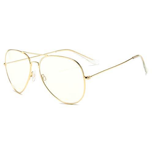 Blaulichtfilter Brille ComputerBrille Anti Müdigkeit Anti-Blaulicht Retro Metall Frame Gaming Brille für PC Damen Herren Gold