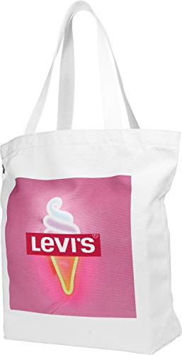 Levi's - The Everyday Ice Cream Tote, Bolsas de tela y playa, Blanco (Noir Regular White)
