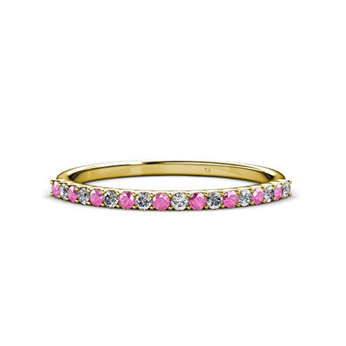 TriJewels Pink Sapphire and Diamond 1.5mm 18 Stone Wedding Band 0.28 Carat tw in 14K Yellow Gold.size 9.0 (0.28 Ct Pink Diamond)
