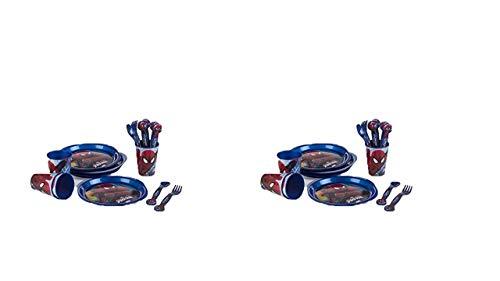 3188; pack de 2 set Fiesta y cumpleaños Spiderman; Compuesto por 4 vasoss, 4 Platos, 4 cucharas y 4 Tenedores cada uno, Todo de plástico Reutilizables; Libre de BPA
