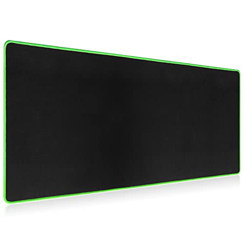Coolden Large Mouse Pad Gaming Desk Mat XL with Stitched Edge Non-Slip Rubber Base Extended Water Resistant Keyboard Writing Mat Multifunctional for Home Office Laptop 31.5 x 11.8 in Black Green