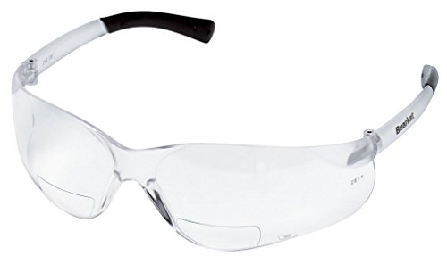 Crews BKH25 BearKat Magnifier Polycarbonate 2.5 Diopter Clear Lens Safety Glasses with Non-Slip Hybrid Black Temple Sleeve