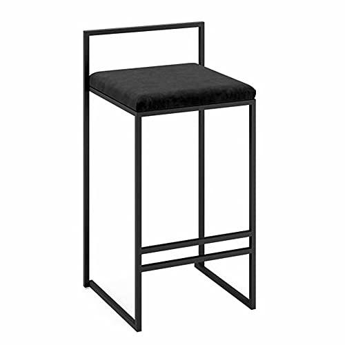 Counter-high kruk,set van 3 barkrukken voor kookeiland,fluwelen zitting,metalen poten,zithoogte 65 cm/75 cm,zwart