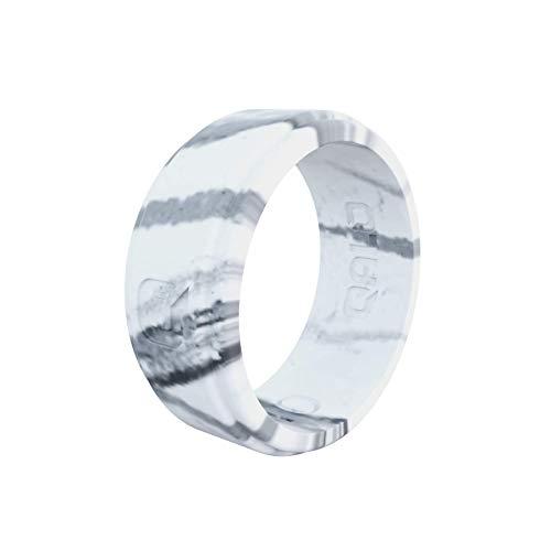 Men's White Marble Step Edge Silicone Ring Size 11