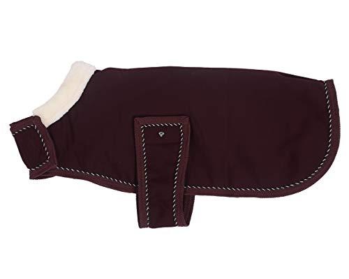 QHP Hundedecke Diamond Softshell-Decke mit Klett und Kunstfellkragen (75 cm, Wine red)