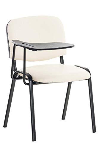 CLP Besucherstuhl Ken mit Klapptisch | Robuster Konferenzstuhl mit gepolsterter Sitzfläche und Kunstlederbezug, Farbe:Creme