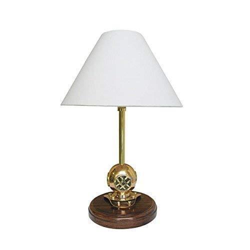 linoows Taucherhelm Lampe, Maritime Tisch Lampe mit Taucherhelm und Schirm 39 cm