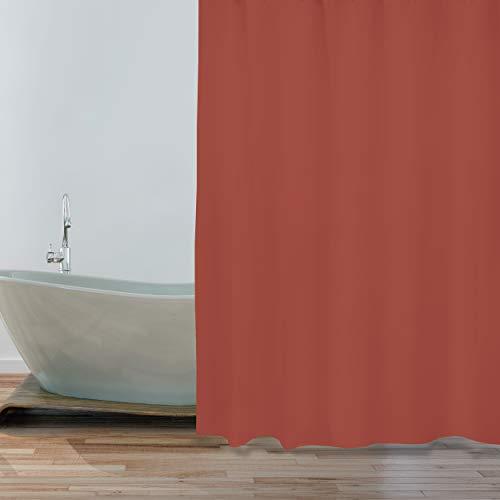 """MSV Anti-Schimmel Duschvorhang - Anti-Bakteriell, waschbar, wasserdicht - Polyester, """"Terracotta Rot"""" 180x200cm"""