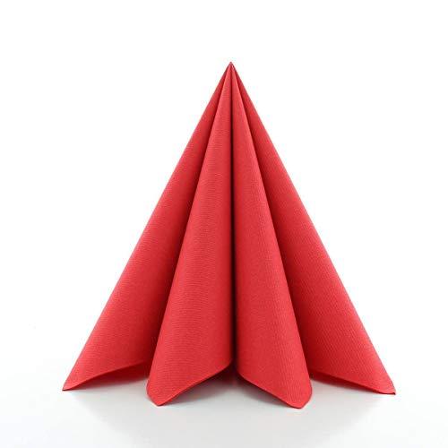 Sovie HORECA Airlaid-Servietten 40x40 cm | hochwertige Einweg-Servietten | extrem saugstark und stoffähnlich | ideal für Hochzeit & Partys | 50 Stück | Rot
