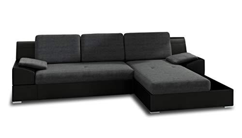 Ecksofa Aldo mit Glasregal, Couchgarnitur mit Bettfunktion und Bettkasten, Sofagarnitur, Couch mit Schlaffunktion, Big Sofa (Schwarz + Graphit (Soft 011 + Inari 94), Ecksofa Rechts)