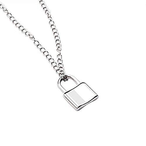 pyongjie Collar de Mujer S Joyería Collar de Plata esterlina 925 Collar de Bloqueo de corazón Creativo Personalidad Tendencia Hip-Hop Collar Cadena Mujeres S Joyería Regalos