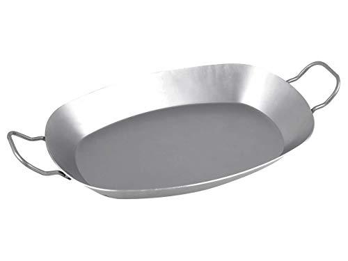 chg Ovale Eisenpfanne | 37,5 x 27,5 x 4,5 cm | 2 Griffe | alle Herdarten | Grill geeignet
