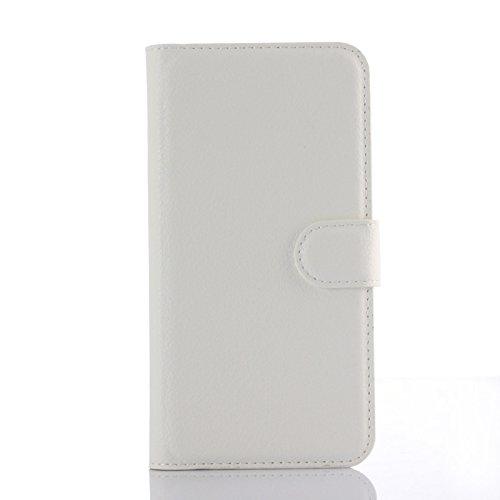 Ycloud Tasche für Motorola Moto G 2 Generation Hülle, PU Ledertasche Flip Cover Wallet Hülle Handyhülle mit Stand Function Credit Card Slots Bookstyle Purse Design weiß