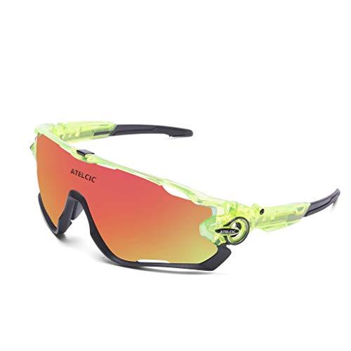 Occhiali da sole sportivi per ciclismo, protezione UV400 e montatura in TR-90, lilla, arancione, resistenti agli urti, per uomo, donna, mountain bike, bici da corsa, mountain bike e bici (verde)
