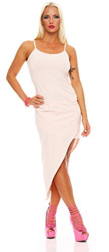 Damen Asymmetrisches Kleid Dress Abendkleid Cocktailkleid Gr. S M 36 38, 1549 Puderrosa S M