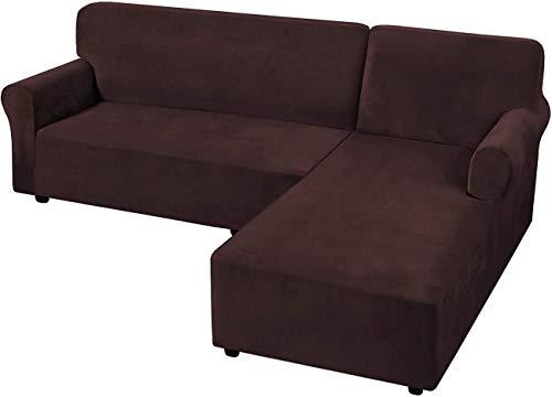 Fundas de sofá de terciopelo elástico 2 piezas Fundas de sofá en forma de L Fundas de sofá seccionales antideslizantes con correas en la parte inferior Funda de sofá de esquina de terciopelo grueso d